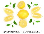lemon and slices with leaf... | Shutterstock . vector #1094618153