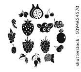 berries icons set. simple... | Shutterstock .eps vector #1094624570