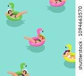 summer vacation pattern. girls... | Shutterstock .eps vector #1094663570