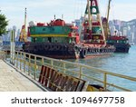 commercial barges with...   Shutterstock . vector #1094697758