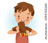 boy eating chocolate. emotional ... | Shutterstock .eps vector #1094703260