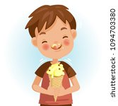 boy eating ice cream. emotional ... | Shutterstock .eps vector #1094703380