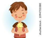 boy eating ice cream. emotional ... | Shutterstock .eps vector #1094703380