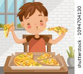 boy eating pizza. sitting at... | Shutterstock .eps vector #1094704130