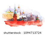 moscow kremlin. russia red... | Shutterstock . vector #1094713724
