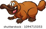 happy cartoon platypus. vector... | Shutterstock .eps vector #1094715353