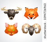 low poly animals  bull fox cat... | Shutterstock .eps vector #1094726963