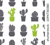 seamless pattern of pots with... | Shutterstock .eps vector #1094730380