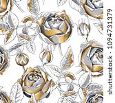 seamless pattern with gold rose ... | Shutterstock .eps vector #1094731379
