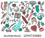 big set of cute women's items.... | Shutterstock .eps vector #1094734880