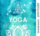 girl in lotus yoga pose on... | Shutterstock .eps vector #1094751089