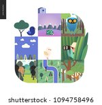 simple things   forest set on a ... | Shutterstock .eps vector #1094758496