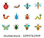 insects icon set. ladybird bee... | Shutterstock .eps vector #1094761949