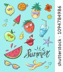 set of summer fashion patches ... | Shutterstock .eps vector #1094784986