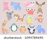 Stock vector cute animal sticker set 1094789690
