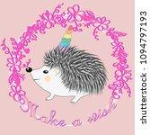 a cute cartoon hedgehog with a... | Shutterstock .eps vector #1094797193
