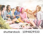 group of happy friends making...   Shutterstock . vector #1094829533