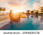 happy friends drinking... | Shutterstock . vector #1094830178