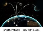 Small photo of Global world telecommunication network with nodes connected around earth, concept about internet and worldwide communication technology, image from space furnished by NASA