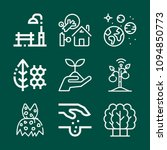 set of 9 nature outline icons... | Shutterstock .eps vector #1094850773