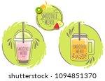 set logo smoothie or milkshake... | Shutterstock .eps vector #1094851370