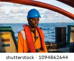 seaman ab or bosun on deck of... | Shutterstock . vector #1094862644