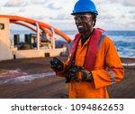 seaman ab or bosun on deck of... | Shutterstock . vector #1094862653