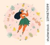 hawaiian girl is dancing. aloha ... | Shutterstock .eps vector #1094874599