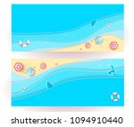 top view beach background with...   Shutterstock .eps vector #1094910440
