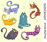 funny cartoon cats characters. ... | Shutterstock . vector #1094924090