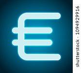 euro symbol  simple icon. neon...