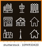 set of 9 building outline icons ...   Shutterstock .eps vector #1094933420