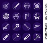set of 16 weapons outline icons ... | Shutterstock .eps vector #1094939228