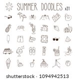 set of 31 summer drawings.... | Shutterstock .eps vector #1094942513