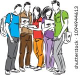 group of students vector... | Shutterstock .eps vector #1094944613