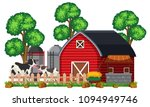a barn and farm on white... | Shutterstock .eps vector #1094949746