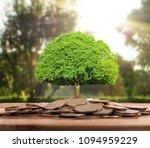 money growing from coins  | Shutterstock . vector #1094959229