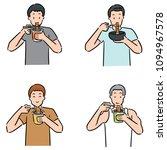vector set of man eat noodle | Shutterstock .eps vector #1094967578