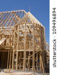Structure of wood framed home - stock photo