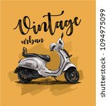 vintage scooter on yellow... | Shutterstock .eps vector #1094975099