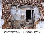 demolished roof. abandoned... | Shutterstock . vector #1095001949