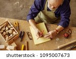 top view photo of carpenter in... | Shutterstock . vector #1095007673