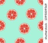 grapefruit seamless pattern... | Shutterstock . vector #1095009569