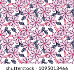 daisy flowers and leaves...   Shutterstock .eps vector #1095013466
