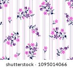Stock vector bouquet colorful flowers with vertical lines background for textile pattern fashion print 1095014066