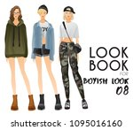 body template with outfits and...   Shutterstock .eps vector #1095016160