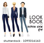 body template with outfits and...   Shutterstock .eps vector #1095016163