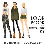 body template with outfits and...   Shutterstock .eps vector #1095016169