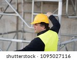 back turned construction worker ... | Shutterstock . vector #1095027116