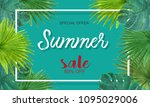 tropical background summer sale ... | Shutterstock . vector #1095029006